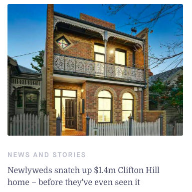 Newlyweds snatch up $1.4m Clifton Hill home – before they've even seen it